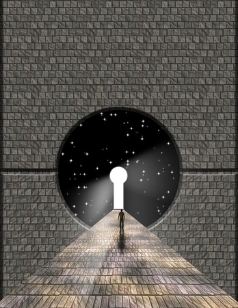 Man before keyhole with starry background