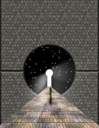 Man voor sleutelgat met sterrenhemel achtergrond Stockfoto