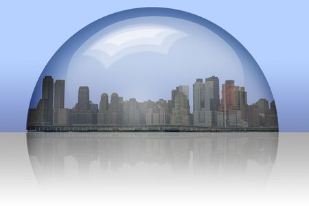 enclosed: City Enclosed in glass sphere