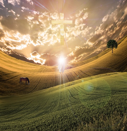 serenity: Cross radiates light in sky over beautiful landscape along with figure of light  Stock Photo