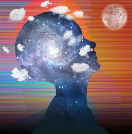 understand: Head in clouds contains space Stock Photo