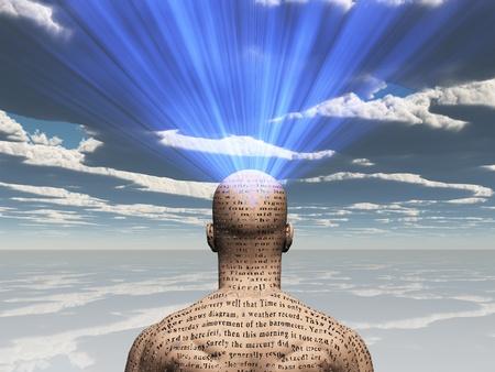 Man met verhaal op zijn huid straalt licht uit zijn hoofd Stockfoto