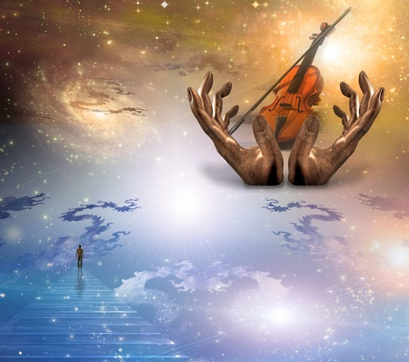 Face gazing up with violin photo