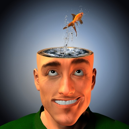 Man with living liquid mind photo