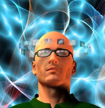 Images encircel mans head photo