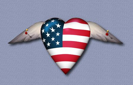 political prisoner: USA FLag winged heart pinned to surface Stock Photo