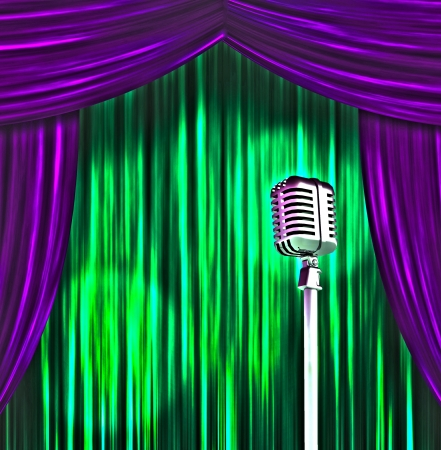 perform: Classic Microphone with Colorful Curtains Stock Photo