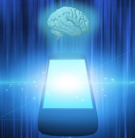 Smart Phone with Brain Stock Photo - 13612962