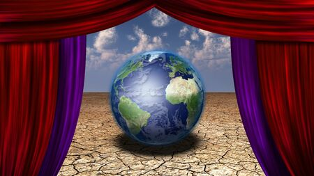 theatrical performance: Earth in desert veiwed through open curtains Earth image credit NASA