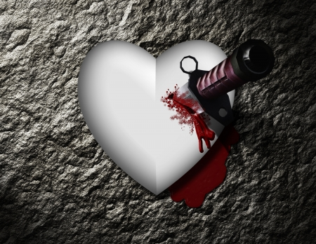 heart broken: bleeding heart with bloody knife Stock Photo