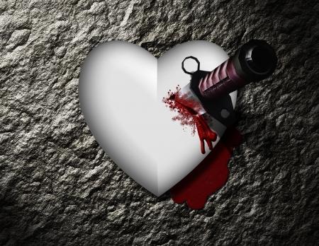 Sanguinamento cuore con un coltello sanguinante Archivio Fotografico - 13613032