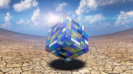 Artistic Cube Hovers Stock Photo - 13746353