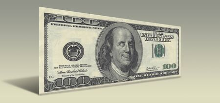hundred dollar bill: US Hundred Dollar bill with Smiling Ben Franklin