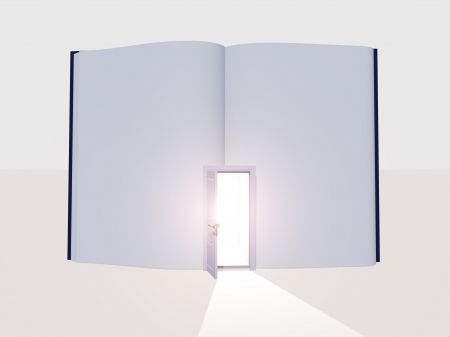 fantasy book: Book with open door Stock Photo
