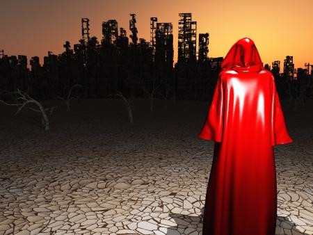 Traveler voor de verwoeste stad