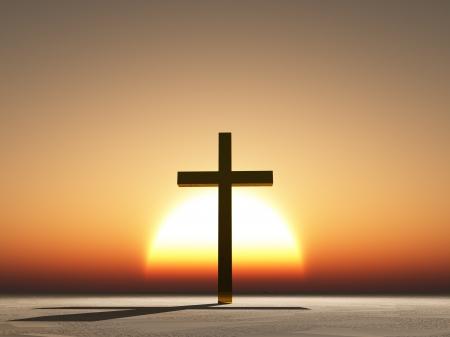 pasqua cristiana: Tramonto o all'alba con croce