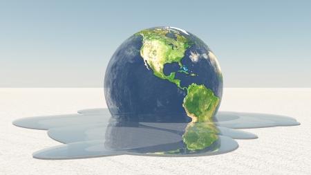 Aarde smelten in het water