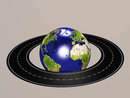 drive around the world: Road Circles earth