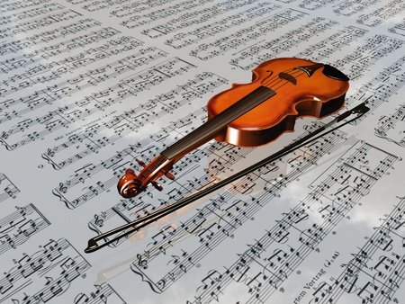Violin on sheet music backdrop with clouds reflecting photo
