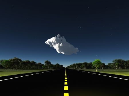 Road leads into horizon with cloud Stock Photo - 14033642