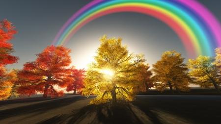 紅葉虹 写真素材