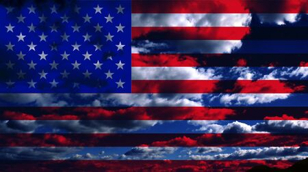 veteran: USA Flag and Clouds Design