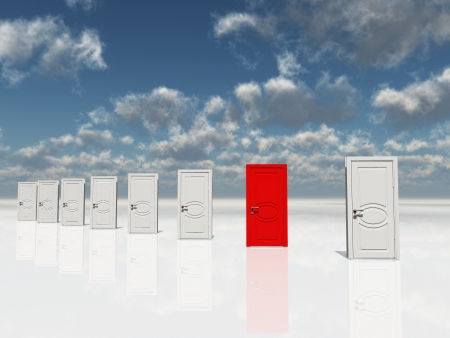 opportunity: Single red door among several white doors Stock Photo
