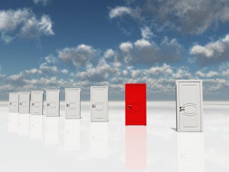 Single red door among several white doors Foto de archivo