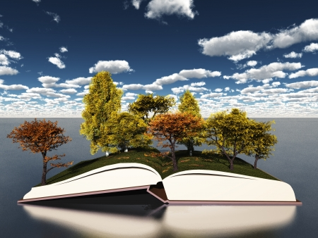fall landscape: Autumn trees on book