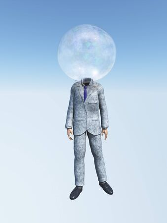 soap sud: Man in suit with Bubble for head