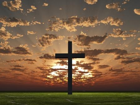 クロスと日の出または日没