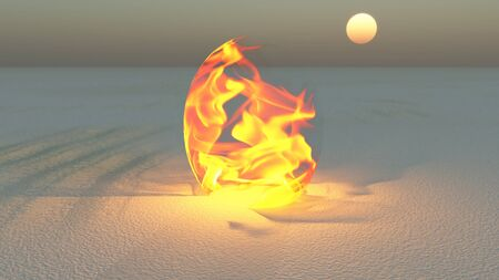 Fire burning in desert Sands Stock Photo - 14063825