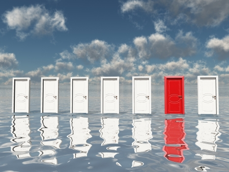 Sigle red door among several floating doorsin surreal landscape or silvery water and blue sky Stock Photo