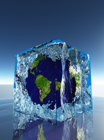 Earth inside ice cube photo