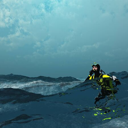 Diver at surface of rough sea photo