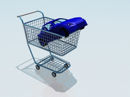 Car in a shopping cart photo
