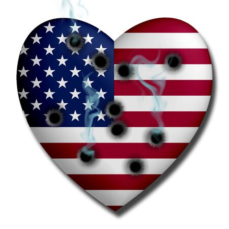 wounded heart: USA Heart with Bullet Holes Stock Photo