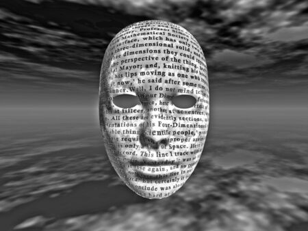 surreal face with text photo