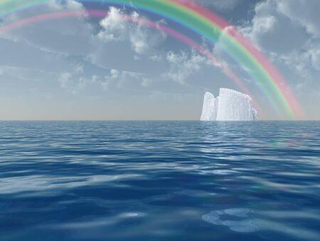 floe: Iceberg with rainbow scene Stock Photo