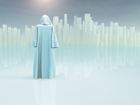 caped: White robed traveler journeys to holy city