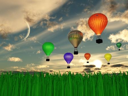 buoyant: Hot Air Balloon Sunset or sunrise