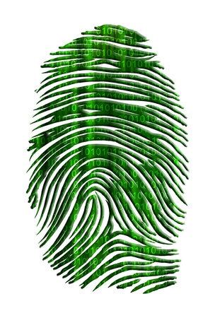 binary matrix: Matrix like finger print with streaming binary Stock Photo