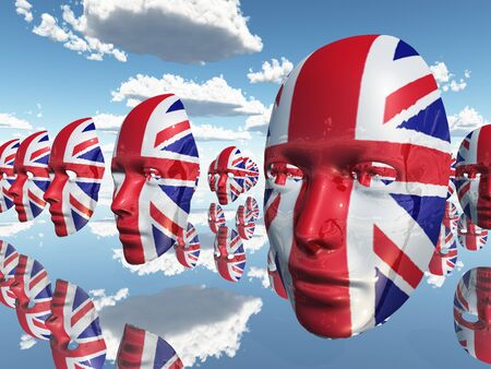 english culture: Faces with UK Flag float Stock Photo