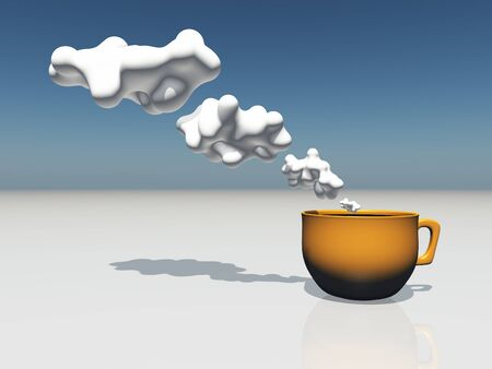 Cup with cloud thought bubbles photo