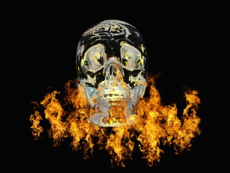Crystal skull surrounded by fire Stock Photo - 14231435
