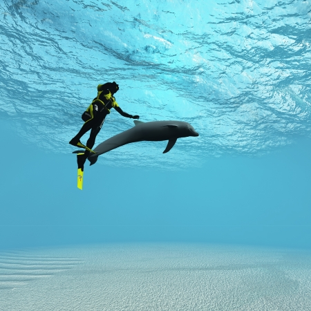 underwater sport: Diver with dolphin