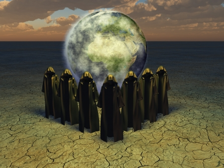 Hooded caped figures and the earth photo