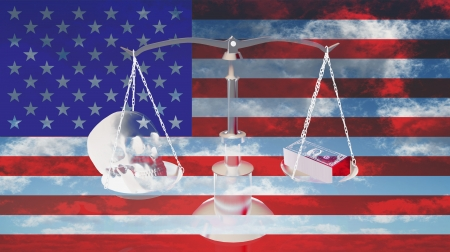 lawsuit: Scales with dollars and skull with US flag Stock Photo