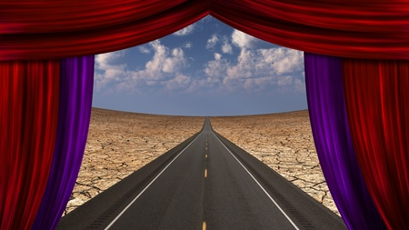 Curtain opens onto roadway photo