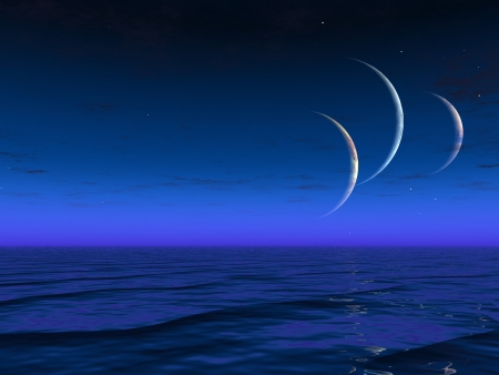 Alien worlds planets rise over liquid ocean Stock Photo - 14231401